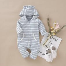 Otroški pajac črtast s kapuco (9-12 mesecev)