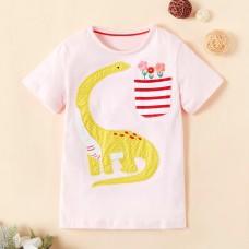 Poletje- Otroška majica s kratkimi rokavi Dinozaver in rožice (5-6 let)