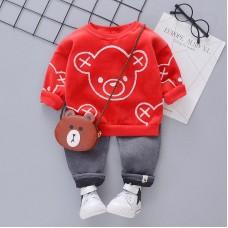 Otroški komplet hlače+pulover rdeč Medvedek (18-24 mesecev)