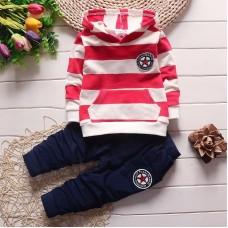 Otroški komplet pulover s kapuco+hlače, rdeč/črtast (2-3 leta)