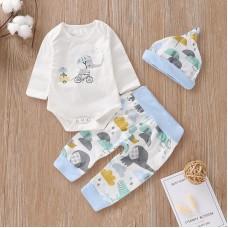 Otroški komplet bodi+hlače+kapa Slonček in miška (6-9 mesecev)