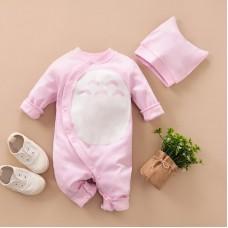 Otroški pajac s kapico, roza (3-6 mesecev)