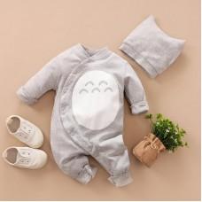 Otroški pajac s kapico, siv (3-6 mesecev)
