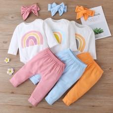 Otroški komplet bodi+hlače Mavrica, roza (12-18 mesecev)