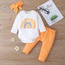 Otroški komplet bodi+hlače Mavrica, oranžen (6-9 mesecev)