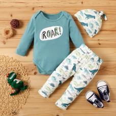 Otroški komplet bodi+hlače+kapa Dinozavri (3-6 mesecev)