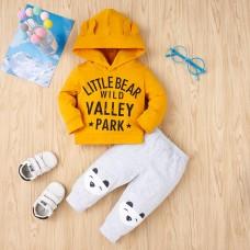 Otroški komplet majica s kapuco+hlače Medvedek (9-12 mesecev)