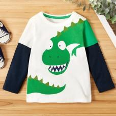 Majica dolg rokav Zelen dinozaver (2-3 leta)