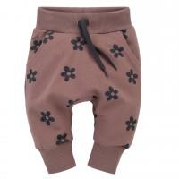 Pinokio - Otroške baggy hlače Happiness roza z rožicami