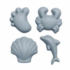 Scrunch- Set silikonskih modelčkov za mivko Moder