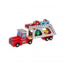 Janod - Lesen tovornjak z dirkalnimi avtomobili