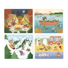 Vilac -Set štirih lesenih sestavljanka Počitnice