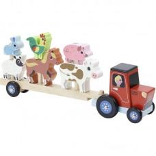 Vilac - Lesena natikanka Traktor z živalmi